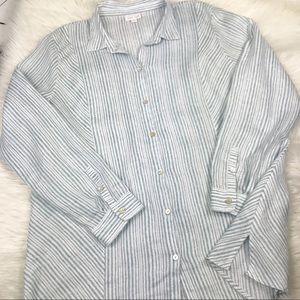 J. Jill Love Linen Tunic Shirt Long Sleeve Button